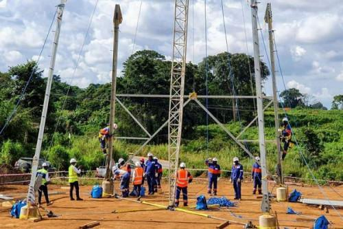 The first pylon of Nachtigal dam's transmission line has been completed, NHPC informs